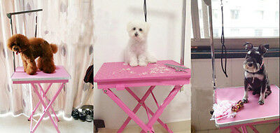 Portable Pet Beauty Table Adjstable Height Travel Home Rubber Surface (Pink)
