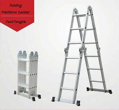 Brand New Aluminum 7 Functions Folding Platform Ladder 16 Ft High Quality