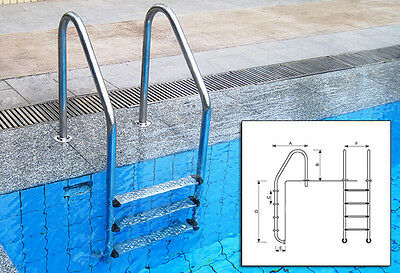 New 4 Step Ladder For In-Ground Swimming Pools Maintenance Pool Part Yard Tool