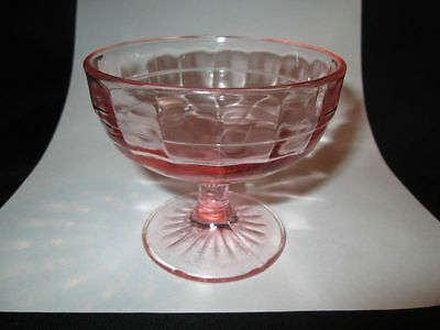 3 Pieces Pink Block Optic Hocking Depression Glass Sherbets