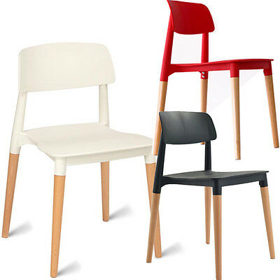 Set Of 2 Plastic Chairs Dining Kitchen Office Lounge Wooden Legs Chair Stacking