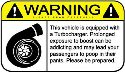 Funny Warning Sign Turbo Boost Sticker Self Adhesive Office