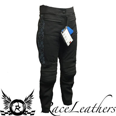 Rk Sports Tina Black Blue Ladies Womens Leather Motorbike Motorcycle Trousers