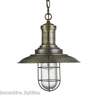 Searchlight 5401AB Fisherman Single Pendant Antique Brass/Seeded Glass Finish