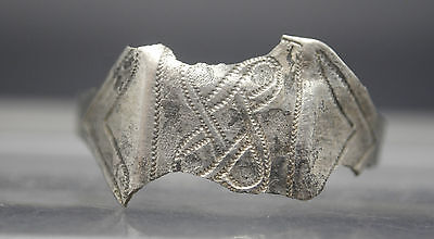 Viking Silver Decorated Finger Ring 10Th Century Ad