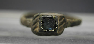 Nice Medieval Bronze Finger Ring With Glass Insert 12Th-13Th Century Ad