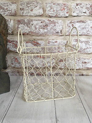 Cream Wire Storage Basket Rustic Country Chic Rectangular With Handles