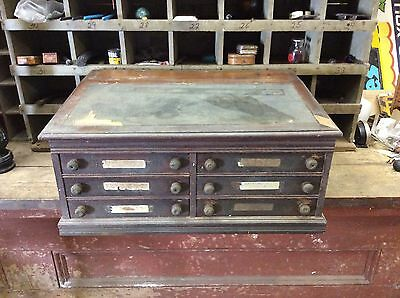 AWESOME ANTIQUE!! J&P Coats Wooden Spool Cabinet 6 Drawers-open Top-old Store-28