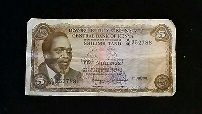 Central Bank of Kenya 5 Shillings 1-7-1971 UNGRADED FAIR CONDITION