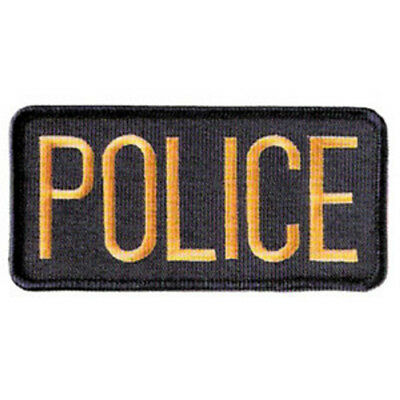 2 SMALL POLICE PATCHES/ BADGE EMBLEM  4 1/4 inches x 2 inches GOLD / BLACK