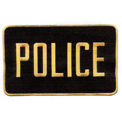 MEDIUM POLICE PATCH BADGE EMBLEM  5 inches x 7 1/2 inches GOLD / BLACK