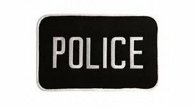 MEDIUM POLICE PATCH BADGE EMBLEM  5 inches x 7 1/2 inches WHITE/BLACK