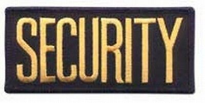 2 SMALL SECURITY PATCHES/ BADGE EMBLEM  4 1/4 inches x 2 inches GOLD / BLACK