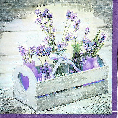 4x Paper Napkins -Lavender in wooden chest- for Party, Decoupage