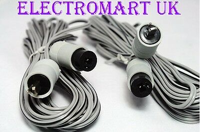 2 Pin Speaker Din Plug Socket Extension Cable Lead 2 X 10M Cables