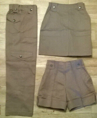 Girls combat trousers,shorts,skirt ,NEW Age 7,8,9,10,11,12,13 yr old, fawn/mink