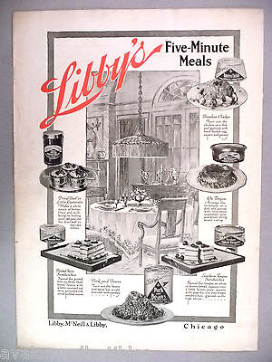 Libby's Canned Food PRINT AD - 1916 ~~ five-minute meals