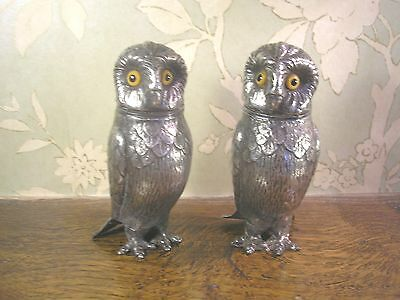 """STUNNING ANTIQUE Silver Plated PAIR of OWL PEPPERS with GLASS EYES - 10.5c/4.2"""""""