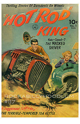 new hot rod Poster 11x17 Hot ROd King Book Cover Art Pinup Pulp