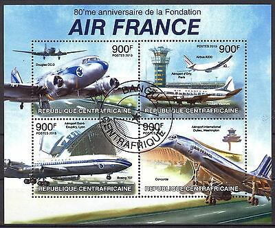 Central African Republic 2013 Aviation AIR FRANCE Concorde Sheet of 4 used