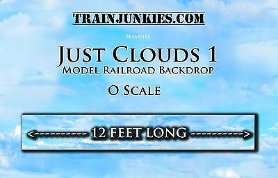 """TrainJunkies O Scale """"JUST CLOUDS"""" Backdrop 144""""x24"""" C-10 Mint-Brand New"""