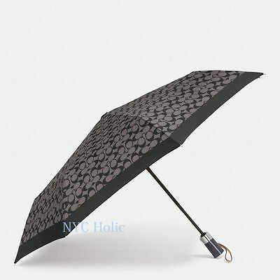 New Coach F63364 Large Umbrella In Signature Black Grey NWT $85 MSRP
