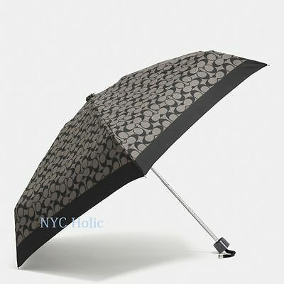 New Coach F63365 Mini Umbrella In Signature Black Grey NWT $65 MSRP