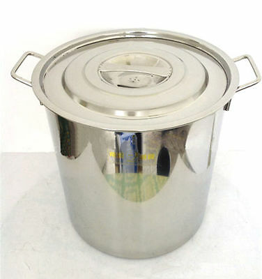 """14"""" Polished 304 Stainless Steel Stock Pot Brewing Kettle Large w/ Lid"""