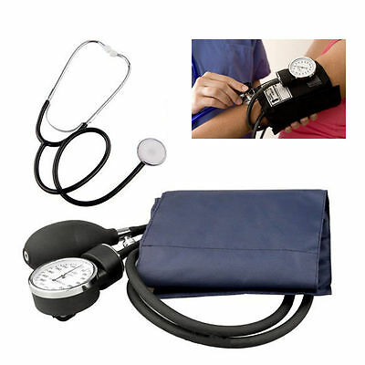 ANEROID Adult Blood Pressure BP Cuff Set Sphygmomanometer Stethoscope Kit BU