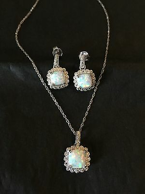 Womens genuine diamond and Opal necklace earrings set Sterling silver 925