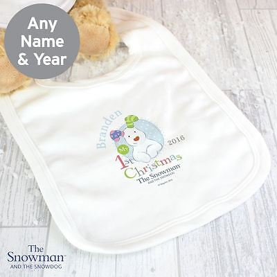 The Snowman and the Snowdog Personalised Babys 1st Christmas Bib 0-3 Month Boys