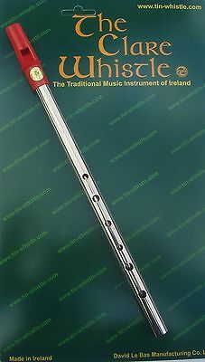 "Tin Whistle Irish - D Nickel - RED Mouthpiece - ""NEW"""