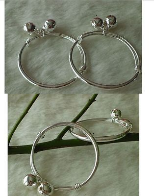 2 pcs 925 Silver Plated cute Baby Bangle Baby Bell Bangles