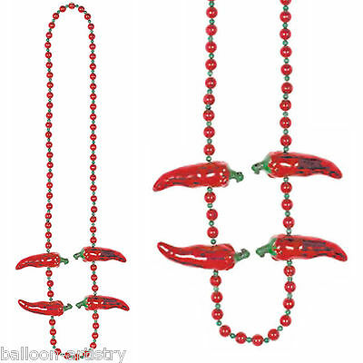 106cm Wild West Mexican Fiesta Fun Party Plastic Red Chilli Pepper Bead Necklace