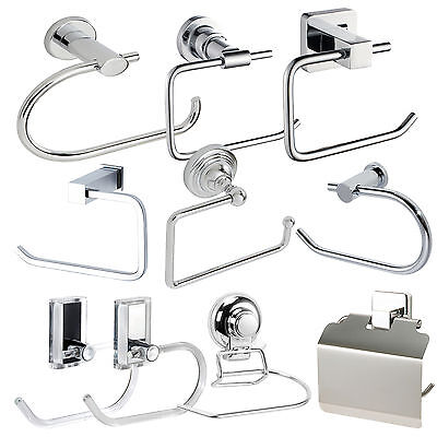 Chrome Wall Mounted Toilet Roll Holder Bathroom Tissue Dispenser Suction Pad
