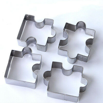 Cakes Tools Biscuit Moulds Fondant 4PCS Baking Stainless Steel Cookies Puzzle