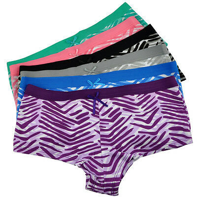 Women Boxers Shorts Cotton Striped Ladies Knickers Underwear Panties 3,6 Pack