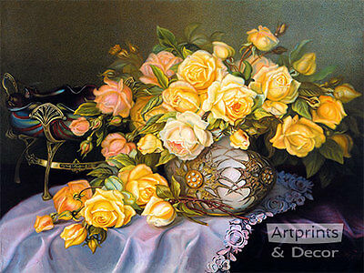 Yellow and Pink Roses - Art Print of Vintage Art
