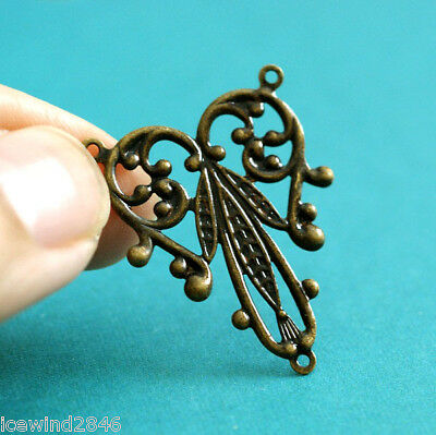 Top Quality 4pcs Antique Brass Filigree Connector