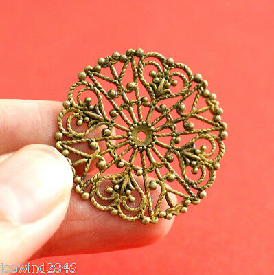 Top Quality 6pcs Antique Brass Round Filigree Patchs