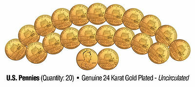 "Lincoln Presidency 2009 Uncirculated 24Kt Gold Bicentennial Pennies ""20 Coin Lot"