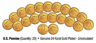 "Lincoln Birthplace 2009 Uncirculated 24Kt Gold Bicentennial Pennies ""20 Coin Lot"