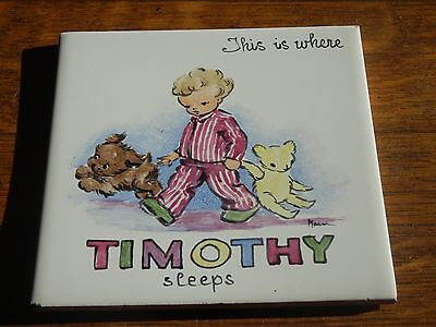 Vintage 1950s Hand Painted Childrens Bedroom Door Tile 'Timothy' Made In England