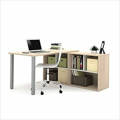 BESTAR 150873-38 i3 L-Shaped Desk, Northern Maple/Sandstone