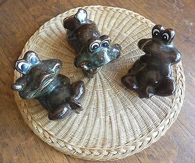A Vintage Trio of Three Comical  Frogs Hand Glazed Studio Pottery Japan