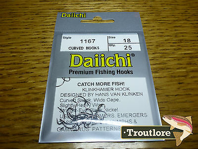 25 x DAIICHI 1167 #18 KLINKHAMER HOOKS for EMERGERS & DRY FLIES NEW FLY TYING