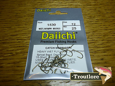 25 x DAIICHI 1530 #12 HEAVY NYMPH HOOKS for WET FLIES - NEW FLY TYING