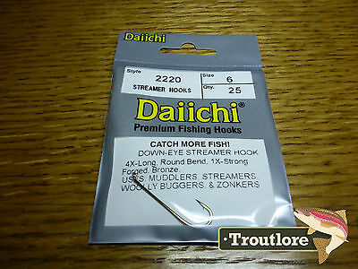 25 x DAIICHI 2220 #6 LONG STREAMER HOOKS for WET FLIES & NYMPHS - NEW FLY TYING