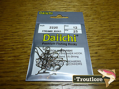 25 x DAIICHI 2220 #12 LONG STREAMER HOOKS for WET FLIES & NYMPHS - NEW FLY TYING