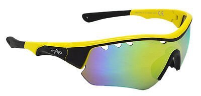 Wrapz SWIFT Vented Cycling  Sunglasses YELLOW with Yellow Mirror Lens